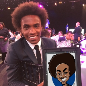 Caricature of Willian Chelsea football player